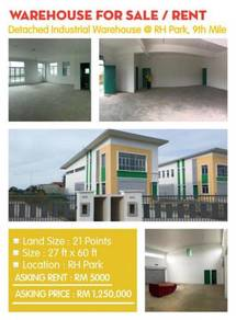 Detached Industrial Warehouse at RH Park, 9th Mile Kuching