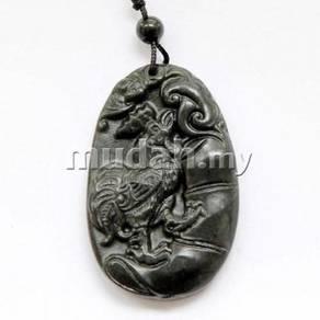 ABPJ-D043 Zodiac Rooster Black Jade Pendant Neckla