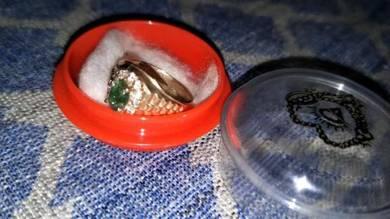 Cincin emas suasa 375 batu zamrud emerald lama