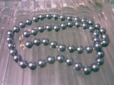 ABNJ-S002 8mm Silver Gray Sea Shell Pearl Necklace