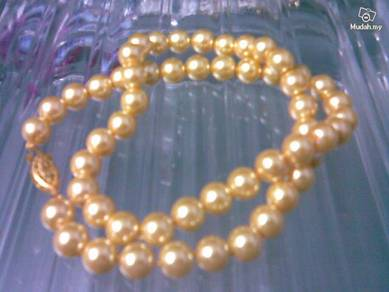 ABNJ-G010 8mm Gold South Sea Shell Pearl Necklace