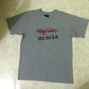 Muscle grey t-shirt car and for vintage