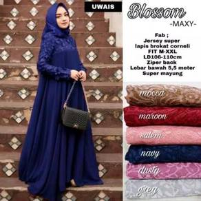 Blossom long sleeve maxi dress pink grey blue red