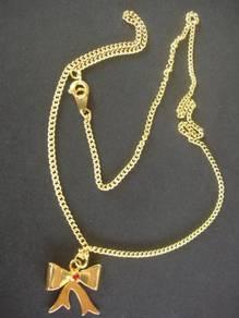N001 Vintage Gold Tone Rhinestone Necklace