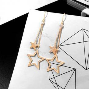 Gold plated star long danggling earrings