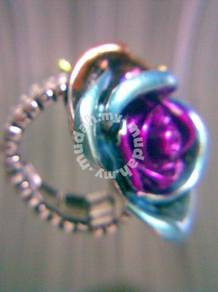 ABRSM-F008 Colorful Flower Crystal Silver Metal AS