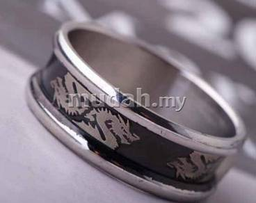 ABRSS-D009 8-Dragon Stainless Silver Black Ring 10