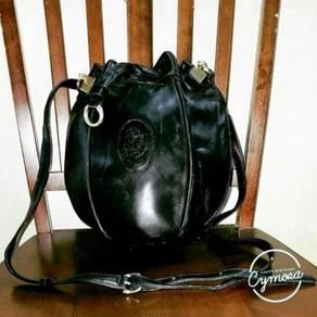 Drawstring Bag Leather Leonardo Cenbale
