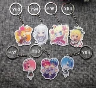 Anime keychain- re:zero, gintama, date alive