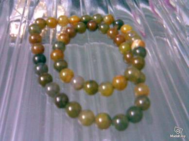ABNJ-M007 Mixed Color Agate Round Beads Necklace