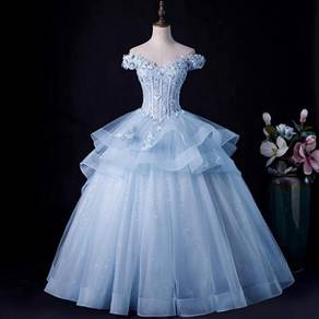 Blue wedding prom evening dress gown RB1602