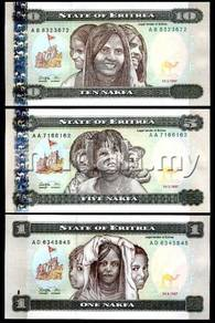 Eritrea set 3 unc 1 5 10 nakfa 1997 unc