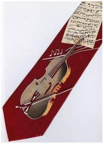Violin Cello Musical Instrument 5 Cartoon Neck Tie