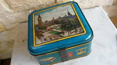 Antik Butterfly Tin Spare Part Container RARE