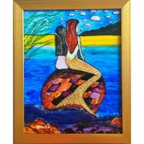 Original handpainted glass art