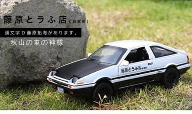 Diecast 1:28 Initial-D Toyota AE86 car black-white