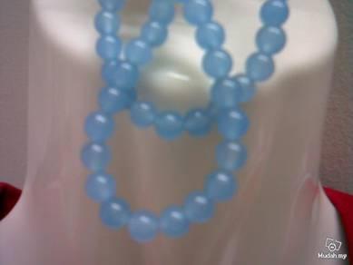 ABNJ-B001 7mm Blue Jade Gemstone Beads Necklace 16