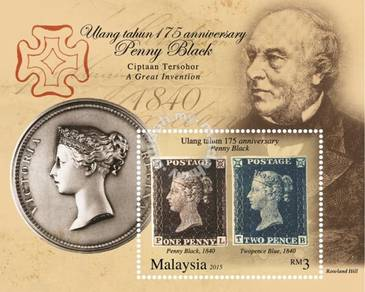 Miniature Sheet 175th Penny Black Malaysia 2015