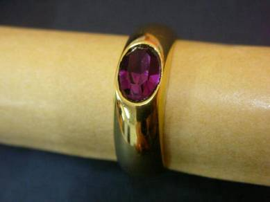 R013 Vintage purple stone gold tone ring