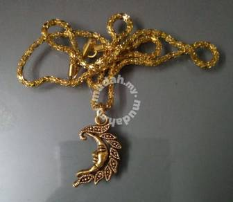 ABPGM-M001 Gold Moon Face Pendant Necklace Chain