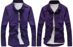 M0515 Purple Plain Formal Office Long Sleeve Shirt