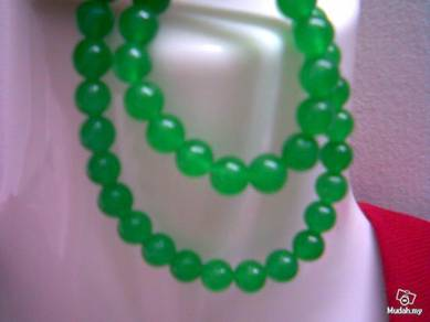 ABNJ-G003 8MM Green Jade Round Beads 16'' Necklace