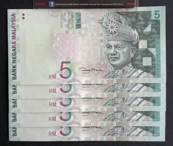 Duit Kertas RM5 11th Siri 11 Zeti Aziz AV76061xx