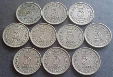 Malaya 5 Cents 1961KN (10 pcs)