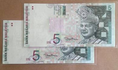 Duit Kertas RM5 11th Siri 11 Zeti BB9057625,26 unc
