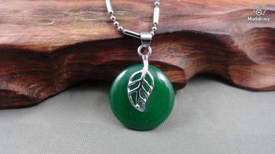 ABPJ-L001 Silver Leaf Round Green Jade Pendant Nec