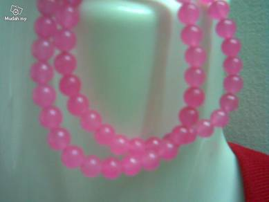 ABNJ-P002 7mm Pink Jade Round Beads Necklace 16