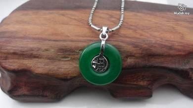 ABPJ-F007 Silver FU Round Green Jade Pendant Neckl