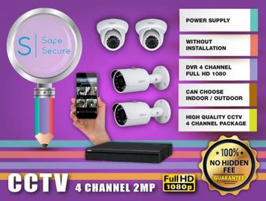 4 CHANNEL CCTV WITH INSTALL 2MP FULL HD - w12a