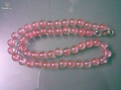 ABNJ-P001 8mm Pink Jade Round Beads Necklace 16