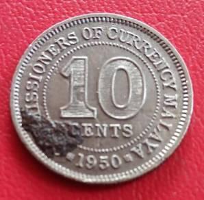 Duit Syiling Malaya 10 Cents 1950 (C)
