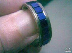 ABRSS-F007 Mens Design Blue Silver Stainless Ring