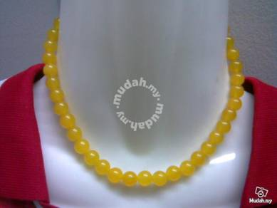 ABNJ-Y001 8MM Yellow Jade Round Beads 16'' Necklac