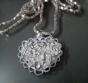 ABPS9-H003 925 Silver Heart Flower Leaf Necklace