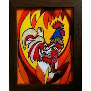 Original and unique handpainted glass art painting