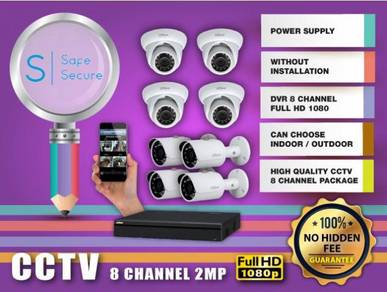8 CHANNEL CCTV WITH INSTALL 2MP FULL HD - w12a