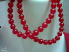 ABNJ-R003 7mm Red Jade Round Beads Necklace 16inch