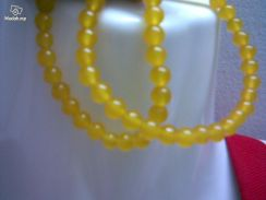 ABNJ-Y002 6MM Yellow Jade Round Bead 16'' Necklace