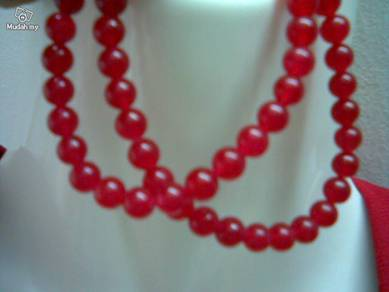 ABNJ-R004 6mm Red Jade Round Beads Necklace 16inch