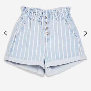Topshop denim paperbag shorts