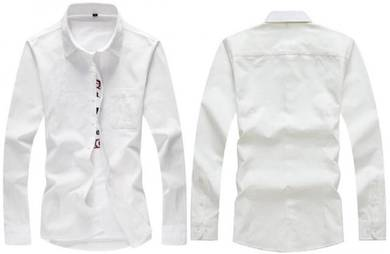 M0565 Plain White Formal Pocket Long Sleeves Shirt