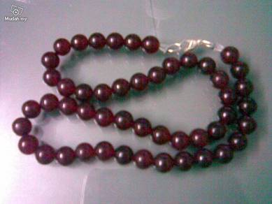 ABNJ-R002 8mm Dark Red Jade Round Beads Necklace