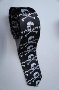 SLIM Eyepatch Pirates Jolly Roger Skull Neck Tie