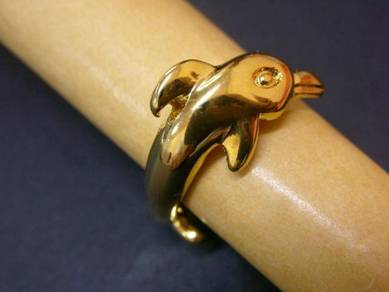R007 Vintage Ring dolphin gold tone