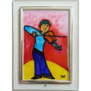 Original handpainted glass art painting