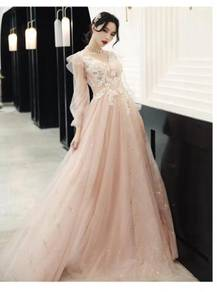 Pink long sleeve wedding evening prom gown RBP1227